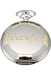 AMPM24 Mens Silver Golden Grandpa Dangle Pendant Pocket Quartz Watch + Chain WPK064 WPK064