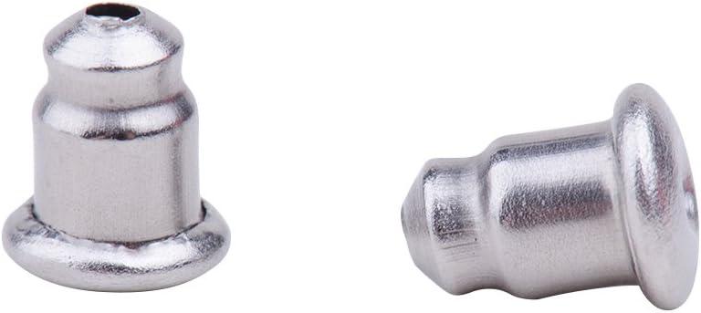 PandaHall 100 Cantidad Tapones Tuerca de Acero Inoxidable Color Original para Pendientes 1 mm Agujero 6x4.5x3.5 mm
