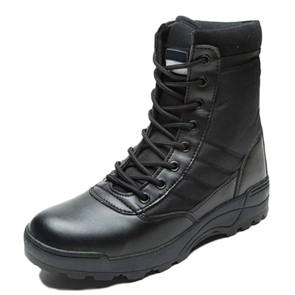 Botas De Ejército Adulto Botas Altas Al Aire Libre Botas Martin Botas De Cuero Desierto De Hombre Zapatos Con Cordones Senderismo Senderismo Calzado Unisex De Gran Tamaño 37-45 43|Black