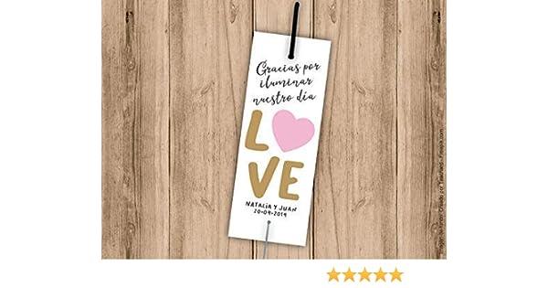 Tarjetas porta bengalas para bodas LOVE con corazón. Bengala NO incluida. Pack 25 udes: Amazon.es: Handmade