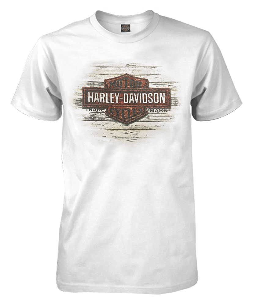 a816a0f81da1 100% Cotton Harley-Davidson Men s Iconic Journey Short Sleeve Crew Neck  Shirt Awesome distressed Bar   Shield logo graphic screen printed on front