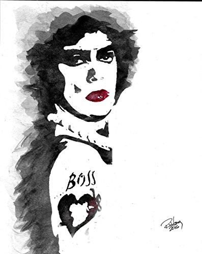 """HAND DRAWN Artist Watercolor Original 8"""" x 10"""" PRINT of Tim Curry in ROCKY HORROR PICTURE SHOW! Available in 11x14, and 20x30 Prints as well!!"""