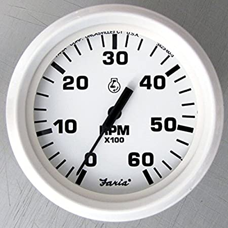 "6,000 RPM Faria Dress White 4/"" Tachometer Gas - Inboard /& I//O"