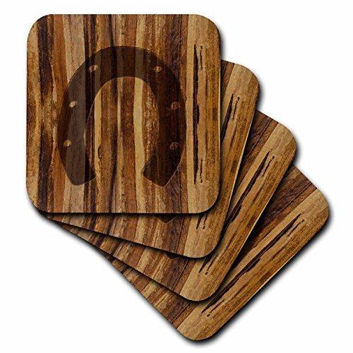 - Coasters Set Branded Wood Print Horseshoe Desk Decorative Coasters 4-Pack 4 inch Mug Mat
