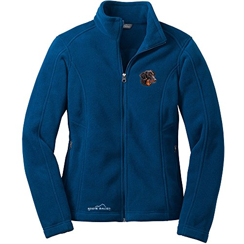 Doberman Coil (Cherrybrook Dog Breed Embroidered Womens Eddie Bauer Fleece Jacket - Small - Deep Sea Blue - Doberman Pinscher)
