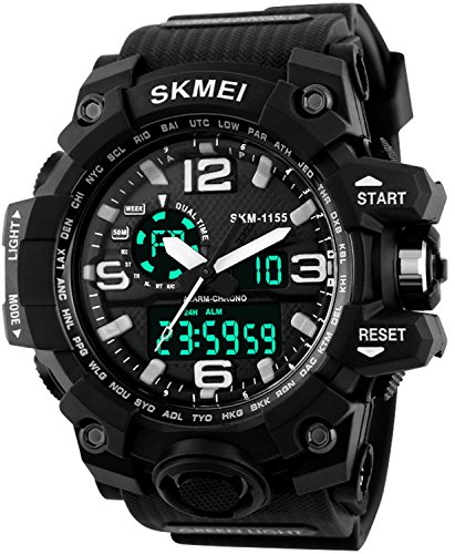 PASOY Men's Military 50M Waterproof Rubber Strap Analog Digital Chronograph Alarm Sport Quartz Watch (Analog Alarm Chronograph)