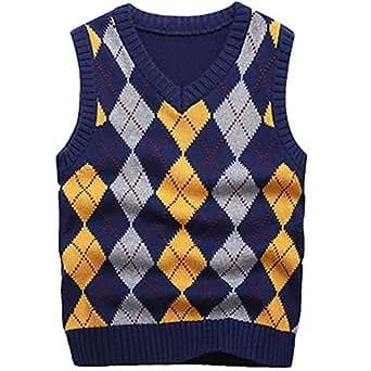 KID1234 Boy's School Uniform V-Neck Cable Front Color Block Plaid Sweater Vest (4T)