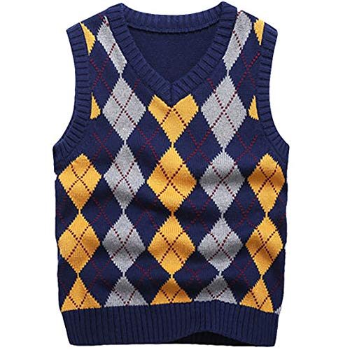 KID1234 Boy's School Uniform V-Neck Cable Front Color Block Plaid Sweater Vest (4T) Dark Blue