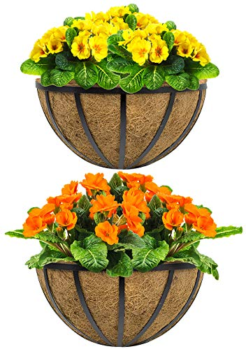 "Sorbus Half Moon Wall Planter Baskets with Coco Liner, Vertical Garden Wall Hanging Planters for Flowers, Plants, etc, Decorative for Fence, Rail, Patio, Deck, Black Metal (Half Planter - 15.75"")"