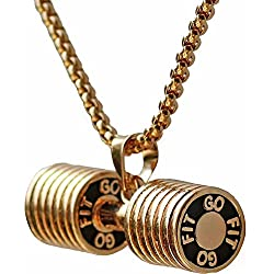Dumbbell Necklace Stainless Steel Couples Barbell Pendant Keep Fit Jewelry Valentines' Gift (Champagne big)