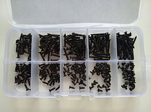 300PCS M2 Phillips Self Tapping Screws Flat head Screw Countersunk Self-attack Bolts 4mm-20mm Length Bolt BLACK Assortment Kits (Countersunk Tapping Screw)