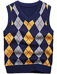 Boys Sweater Vest V Neck Argyle Sleeveless Uniform Knit Plaid Kids Clothes