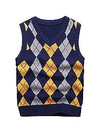 Boy's School Uniform V-Neck Cable Front Color Block Plaid Sweater Vest