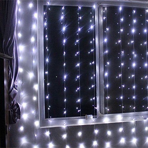 Battery Operated 300 Led Curtain String Lights W Remote Timer Outdoor Curtain Icicle Wall
