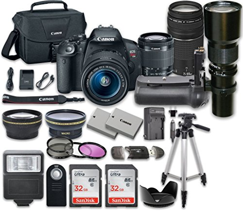 Canon EOS Rebel T5i DSLR Camera with Canon EF-S 18-55mm f/3.5-5.6 IS STM Lens + Canon EF 75-300mm f/4-5.6 III Lens + 500mm f/8 Preset Lens + 14pc Accessory Kit from 33rd Street Camera