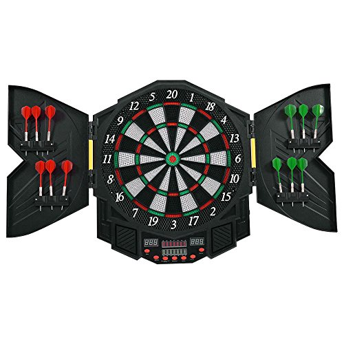Professional Electronic Dartboard Cabinet Set w/12 Darts Game Room LED Display by Unknown