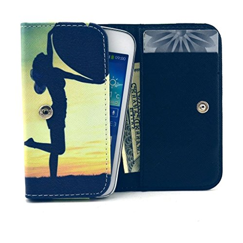 HTC Evo 4G LTE Case,Universal Wallet Clutch Bag Carrying Fold Leather Smartphone Case with Buckle Card Slot for HTC Evo 4G LTE-Dancing Girl Style (Evo For Lte 4g Case Girls Htc)