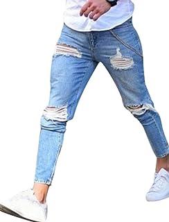 bc82a26e90077 WanYangg Jeans Skinny Homme avec Genou Déchirés, Mode Loisirs Elastique  Jeans Stretch Troué Effet Usé