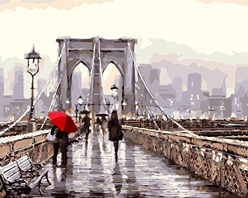 YEESAM ART New DIY Paint by Number Kits for Adults Kids Beginner - Romantic Street, Brooklyn Bridge View 16x20 inch Linen Canvas - Stress Less Number Painting Gifts (With - Brooklyn Kids London