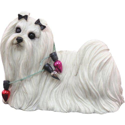 Maltese Dog Figurine (Sandicast Maltese Wearing Holiday Lights Christmas Ornament)