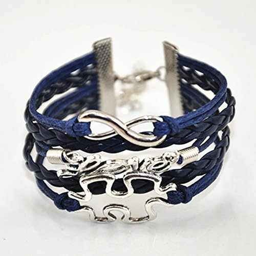 Handmade Puzzle Piece JigSaw Puzzle Infinity Leather Bracelet for Women Girl – All Dark Blue