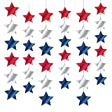 "Amscan Red White & Blue Fourth of July Party Patriotic Stars Doorway Curtain Decoration, Foil, 7"", Pack of 6 Room Decorations"