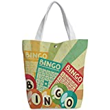 iPrint Canvas Shopping bag,shoulder handbags,Shoulder Bag,Vintage Decor,Bingo Game with Ball and Cards Pop Art Stylized Lottery Hobby Celebration Theme,Multi,Personalized Canvas Tote Bag