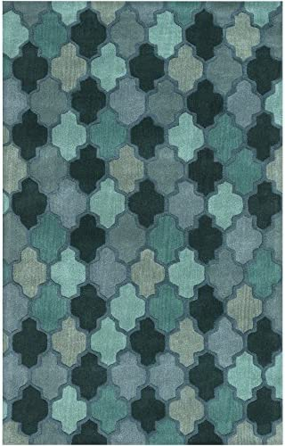Surya Hand Tufted Geometric Area Rug, 9-Feet by 13-Feet, Teal Forest Sea Foam