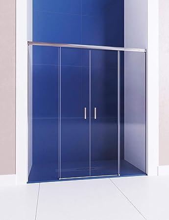 Mampara de ducha frontal de 2 hojas fijas y 2 puertas correderas - Cristal 6 mm con ANTICAL INCLUIDO - Modelo GALAXIA (151-160 cm): Amazon.es: Bricolaje y herramientas