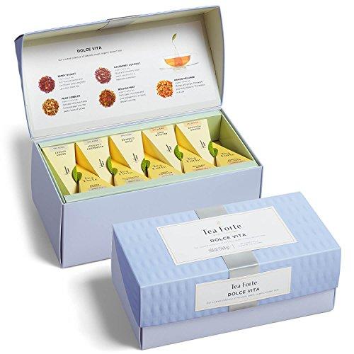 (Tea Forté DOLCE VITA Presentation Box Tea Sampler, Assorted Variety Organic Dessert Tea Box, 20 Handcrafted Pyramid Tea Infuser Bags – Black Tea, White Tea, Herbal Tea)