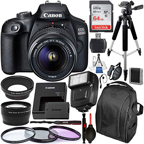 Canon EOS 4000D/Rebel T100 DSLR Camera with 18-55mm III Lens and Essential Accessory Bundle - Includes SanDisk Ultra 64GB SDXC Memory Card & Digital Slave Flash & 3PC Multi-Coated Filter Set & MORE (Digital Camera Wifi Cannon)