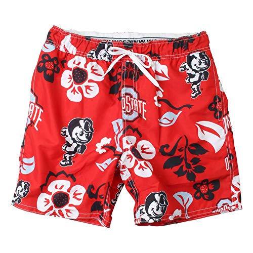 - Wes and Willy NCAA Mens Floral Swim Shorts (X-Large, Ohio State Buckeyes)