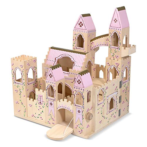 "Melissa & Doug Folding Princess Castle Wooden Dollhouse (Pretend Play Set, Drawbridge and Turrets, Sturdy Construction, 27"" H x 15.25"" W x 17.5"" L)"