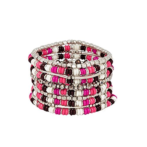 Bracelet Fantaisie en Métal Argenté et Rocaille 10 Rangs - Rose