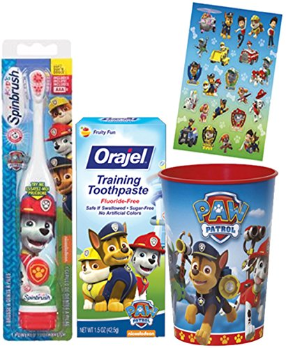 Paw Patrol Marshall Inspired Toothbrush – 3pc. Little Pup's Bright Smile Oral Hygiene Trainning Set! Plus Bonus Paw Patrol Reward Stickers!
