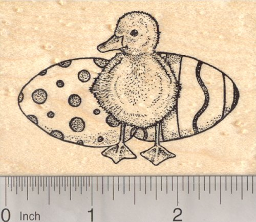 Easter Duckling Rubber Stamp, Baby Duck with Colored Eggs