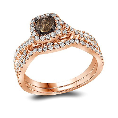 Sonia Jewels Size 7-14k Rose Gold Round Chocolate Brown Diamond Bridal Wedding Engagement Ring Band Set 1Cttw