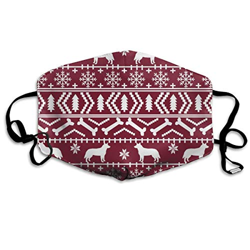 Unisex Mouth Mask Adjustable Anti Dust Face Mouth Mask,Australian Cattle Dog Xmas Fair Isle #4 Face Cotton Mask for Cycling Camping Travel ()