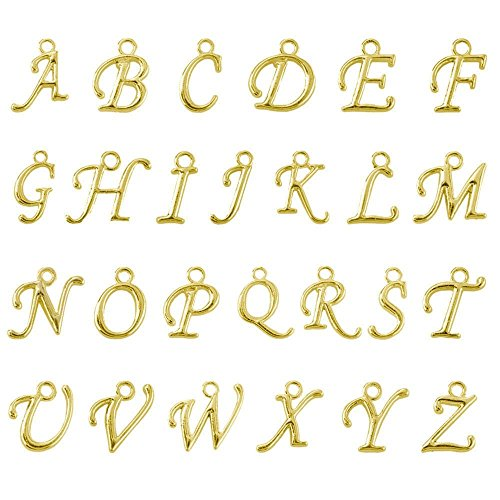 BEADNOVA Gold Plated Alphabet Charms Beads Set for Jewelry Making (100pcs)