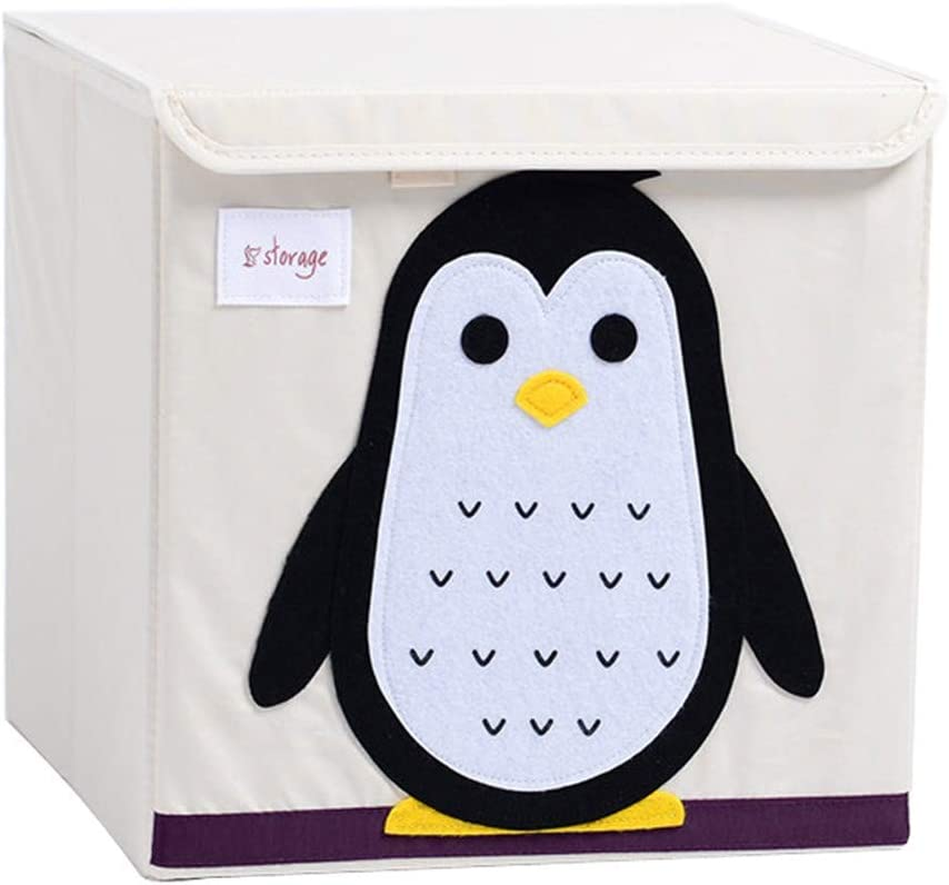 Pinguin CULASIGN Aufbewahrungsbox Kinderspielzeug Leinwand Faltbare Cartoon Spielzeugkiste Organisator Aufbewahrungsw/ürfel Waschbar Spielzeug 33x33x33cm