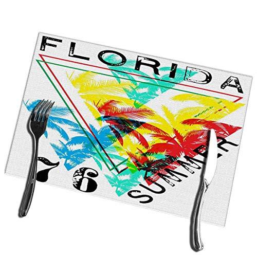 6pcs Manteles individuales para mesa de comedor Florida Summer Lavable Mantel individual de facil limp