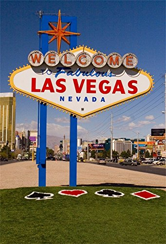 Laeacco Vinyl 6x8FT Photography Background Welcome to LAS VEGAS Sign Navada City Road Street Green Grass Theme Backdrops Portraits Art Children Adult Travel Video Photo Studio Shooting Props