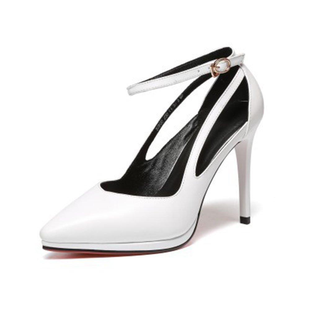 Frauen Geschlossene Zehe Schwarz High Heels Hohl Knöchelriemen Schnallen Plattform Gericht Schuhe Pumps Hochzeit Party Schuhe