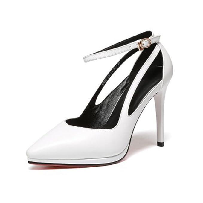 54ed1632bf9 Zapatos De Tacón Alto De Plataforma Negra De Mujer Sandalias Hebillas De  Correa De Tobillo Zapatos De Fiesta De Boda Huecos Bombas Zapatos De La  Corte  ...