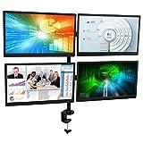 Mount-It! Quad Monitor Stand, LCD, OLED, 4K Monitors, Fits 13, 15, 17, 19, 20, 22, 23, 24, 27 Inch Computer Screens, VESA 75x75 and 100x100, Clamp, Black (MI-1754)