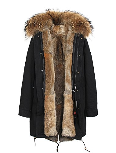 Melody Women's Army Green Large Raccoon Fur Collar Hooded Long Coat Parkas Outwear Rabbit Fur Lining Winter Jacket (Large, Black Natural)