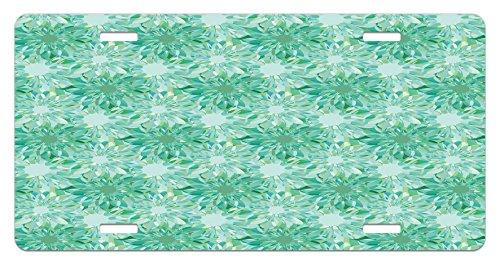 Turquoise License Plate by Ambesonne, Floral Pattern With Beryl Crystal Guilloche Flowers Carving Art Elements Image Print, High Gloss Aluminum Novelty Plate, 5.88 L X 11.88 W Inches, Green (Pattern Guilloche)