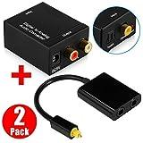 Toslink Fiber Audio Optical Splitter 1 Input 2 Output, LinkStyle Digital to Analog Audio Converter Adapter Box L/R Audio Converter for PS3 PS4 HD DVD Home Cinema