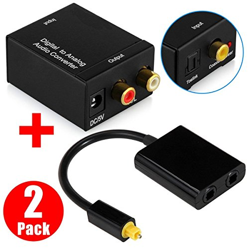 Toslink Fiber Audio Optical Splitter 1 Input 2 Output, LinkStyle Digital to Analog Audio Converter Adapter Box L/R Audio Converter for PS3 PS4 HD DVD Home Cinema (Receiver Optical Plasma)