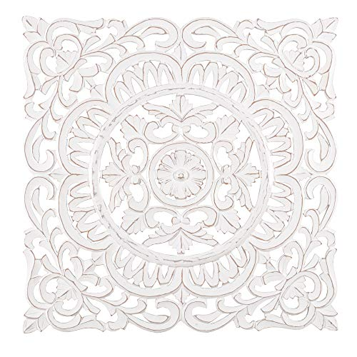 Madeleine Home Ancona Ornate Wall Sculpture | Hand Carved Wall Plaque, Contemporary Accent Home Décor with Fine Floral Baroque Design | 29